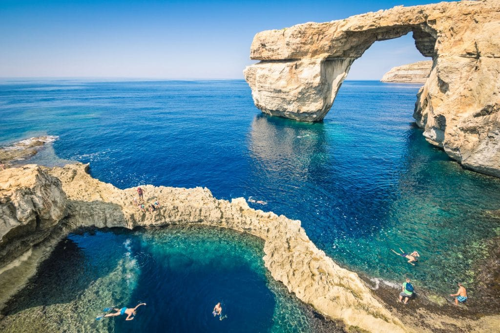 The world famous Azure Window in Gozo island - Mediterranean nature wonder in the beautiful Malta