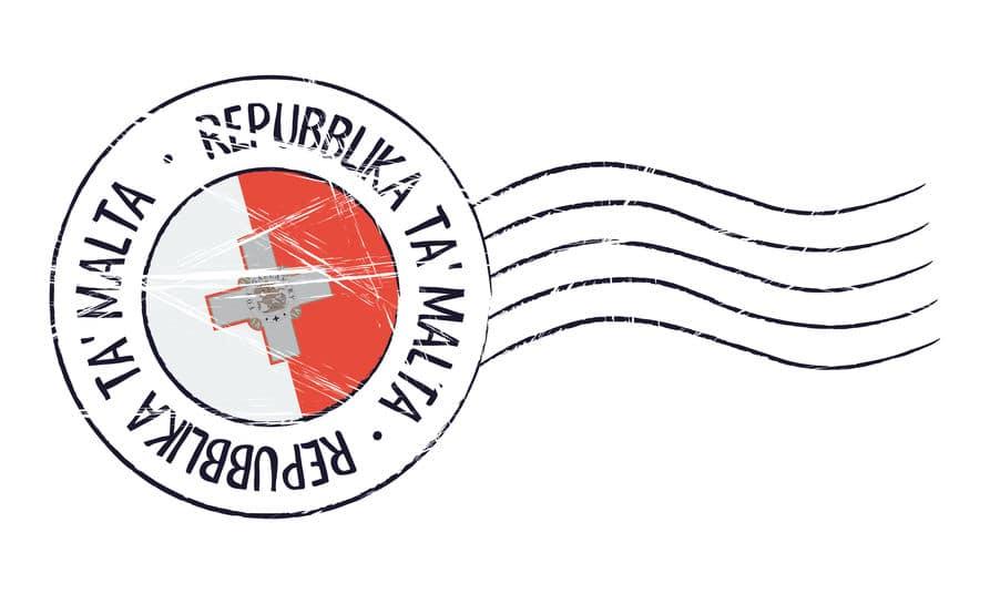 Malta grunge postal stamp