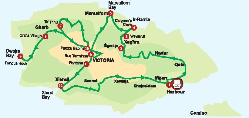 Gozo Tour Bus Route